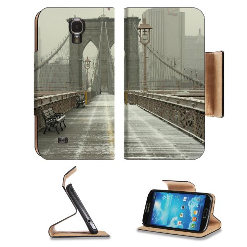 Brooklyn New York Bridge Foggy Day Samsung Galaxy S4 Flip Cover Case With Card Holder Customized Made To Order Support Ready Premium Deluxe Pu Leather 5 1/2 Inch (140Mm) X 3 1/4 Inch (80Mm) X 9/16 Inch (14Mm) Msd S Iv S 4 Professional Cases Accessories Op