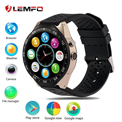 LEMFO KW88 3G Smart Watch Cell Phone All-in-One MTK6580 Android 5.1 Quad Core WiFi GPS Heart Rate Monitor (Gold+Black)