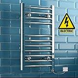 iBathUK | 650 x 400 Electric Chrome Heated Towel Rail Bathroom Radiator - All Sizes