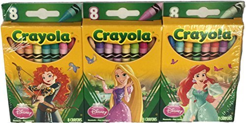 Disney Princess Crayola Crayons- 3 Boxes of 8 Crayons