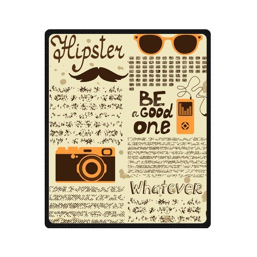 Personalized Fashion Hipster Seamless Vintage Newspaper With Mustache Picture Fleece Blanket 50 X 60 back-1072141