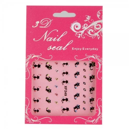 Nail Sticker Nail Art Accessories Decoration Black Cat Xf249 , Lovely Cat Ddstore