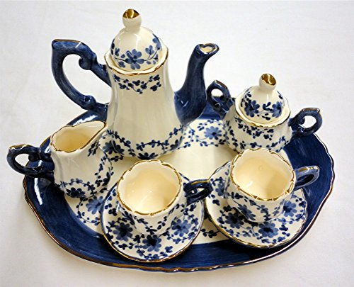 Childrens 10 Piece Mini Tea Set For Two - Blue Garland