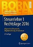 Image de Steuerlehre 1 Rechtslage 2016: Allgemeines Steuerrecht, Abgabenordnung, Umsatzsteuer (Bornhofen Steu