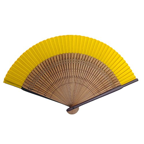 [Edo-Japan Traditional Crafts] Silk Sensu dyed in the traditional colors of Japan (Clear yellow)