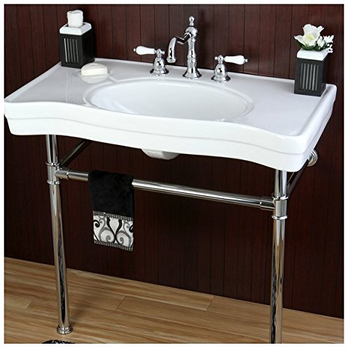 Imperial Vintage 36-inch Wall-mount Chrome Pedestal Bathroom Sink Vanity 2