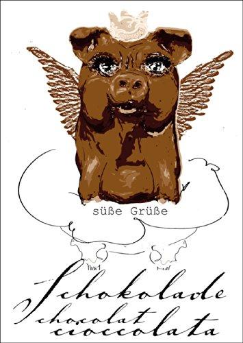 Verschicken Sie süße Grüße mit dieser Schokoladen Mops Grußkarte • auch zum direkt Versenden mit ihrem persönlichen Text als Einleger.