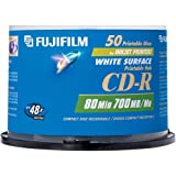 Fujifilm 50PK CD-R 700MB 48X WHT-INK JET  HUB PRINT SPINDLE (25307212)