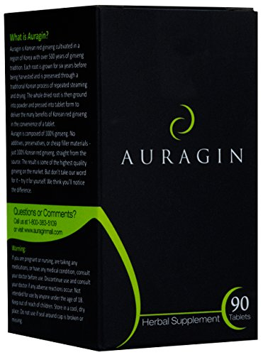 Auragin: Authentic Korean Red Ginseng - Made in Korea - 6 Year Roots, 8% Ginsenosides - No Additives or Other Ingredients - 100% Red Panax Ginseng in Every Tablet, 90 Tablets (Korean Red Ginseng Extract Powder compare prices)