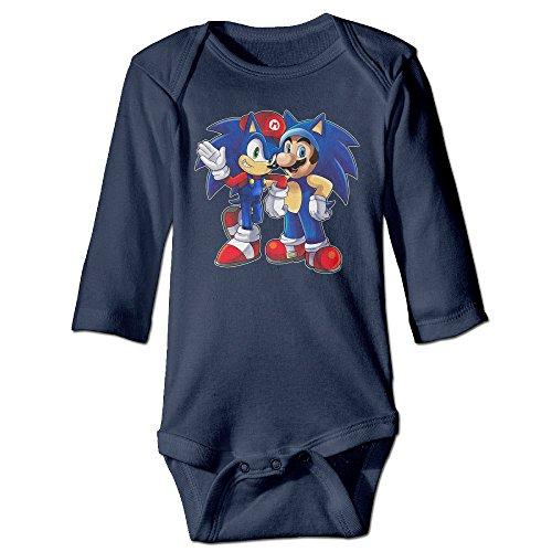Bro-Custom Mario & Sonic Mixed For 6-24 Months Newborn Romper Jumpsuit 6 M Navy