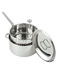 Bayou Classic 1101 10-Quart Stainless-Steel Fry Pot with Lid and Basket by 