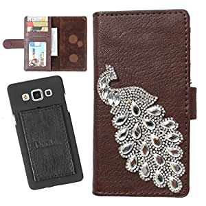 DooDa PU Leather Wallet Flip Case Cover With Rhinestone Peacock in Front And Card & ID Slots For Sony Xperia GO