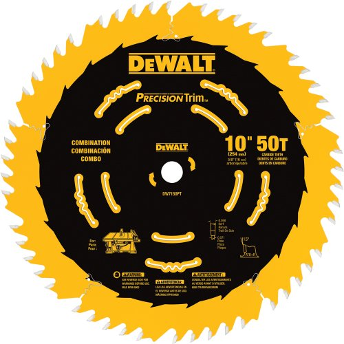 DEWALT DW7150PT 10-Inch 50 Tooth ATB Combination Saw Blade with 5/8-Inch Arbor and Tough Coat Finish