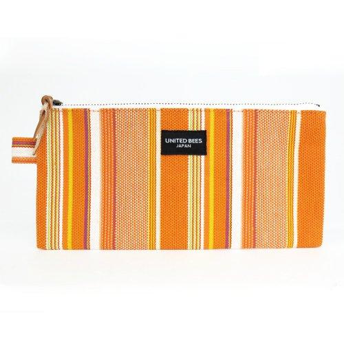 kurashiki-canvas-flat-pencil-case-orange-stripe-ubs-n-06-japan-import