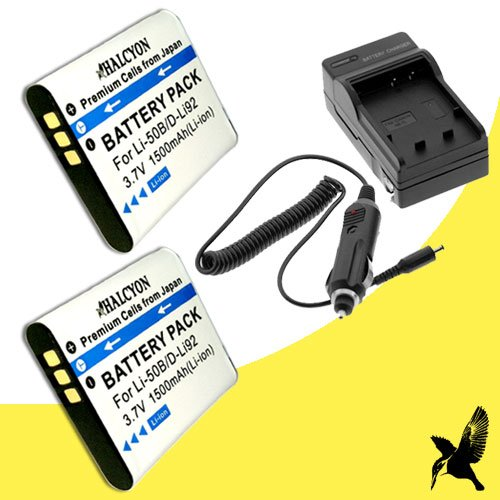 Two Halcyon 1500 mAH Lithium Ion Replacement Battery and Charger Kit for Olympus LI50B Battery and Olympus Stylus 1010, Stylus 1020, Stylus 1030 SW, Stylus 9000, Stylus 9010, Stylus Tough 6000, Stylus Tough 6010, Stylus Tough 6020, Stylus Tough 8000, Stylus Tough 8010, Stylus Tough TG-610, Tough TG-620, Tough TG-630, Tough TG-820 iHS, Tough TG-830 iHS, TG-810, SP800UZ, SP810UZ, SZ-10, SZ-12, SZ-15, SZ-16, SZ-20, SZ-30MR iHS, SZ-31MR, VR-320, VR-340, VR-350, VR-360, VR-370, Olympus XZ-1 Digital Cameras