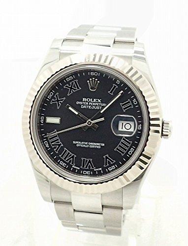 [ロレックス] ROLEX デイトジャスト2 ブラックローマンダイアル K18WGベゼル ランダム ルーレット メンズ AT オートマ 腕時計 116334 [中古]