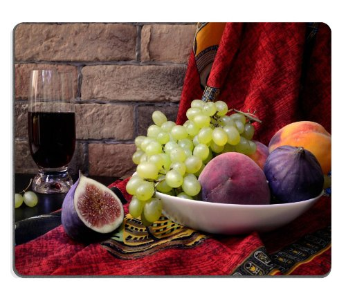 Figs Grapes Fruit Juice Plate Mouse Pads Customized Made To Order Support Ready 9 7/8 Inch (250Mm) X 7 7/8 Inch (200Mm) X 1/16 Inch (2Mm) High Quality Eco Friendly Cloth With Neoprene Rubber Liil Mouse Pad Desktop Mousepad Laptop Mousepads Comfortable Com front-910806