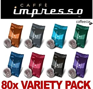 Shop for 80 x Caffè Impresso Nespresso Compatible Coffee Capsules Pods 8 Blend Selection Pack - Caffè Impresso