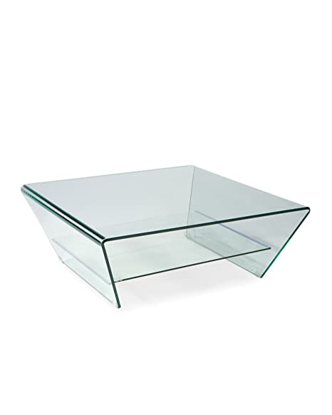 Mod Home Collection 39-Inch Tocca Square Glass Coffee Table