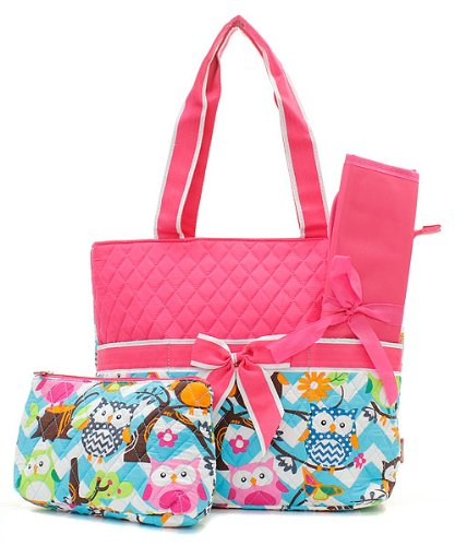 Owl Chevron Stripe Quilted Diaper Bag with Baby Changing Pad & Cosmetic Pouch (PINK)