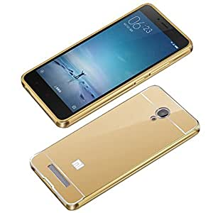 Droit Luxury Metal Bumper + Acrylic Mirror Back Cover Case For RedmiRedmi Note 3 Gold + Flexible Portable Thumb OK Stand by Droit Store.