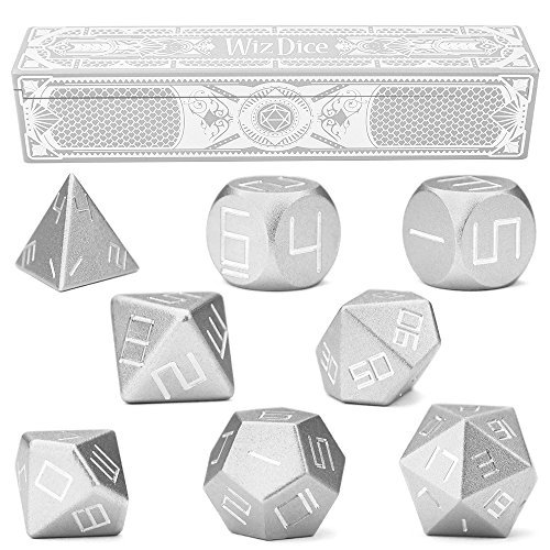 Set of 8 Mithril Masterwork Precision Aluminum Polyhedrals with Laser-Etched Strongbox by Wiz Dice by Wiz Dice