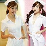 【ELEEJE】 白衣の天使 本格 完全セット ナース服 & 聴診器 網タイツ (ホワイト)