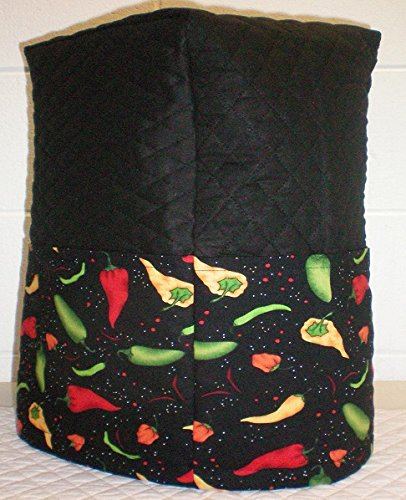 Hot Peppers Quilted Cover for Kitchenaid 13 Cup Food Processor (Black) (Kitchen Aid Blender Cover compare prices)