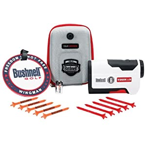 Bushnell Tour V3 Standard Edition Golf Laser Rangefinder, White Patriot Pack by Bushnell