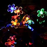 Loende Outdoor Solar Powered Flower String Lights, Waterproof Starry String Lights, Perfect for for Christmas, Garden Indoor Wedding Party Decoration Patio (50 LED 23 Ft 8 Mode Multi-Color Blossom)