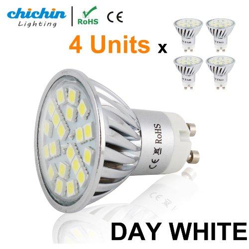 Chichinlighting® 4-Pack Pure White Cool White Led Gu10 Bulb Pack 4 Watts Super Bright Spot Light Wide Angle Gu10 Flood Lamp Reflector