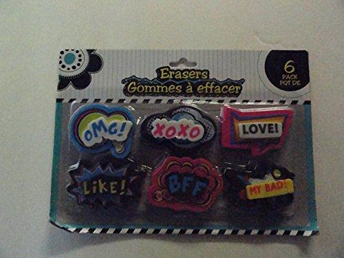 6 Emotive Erasers - OMG! XOXO LOVE! LIKE! BFF MY BAD!