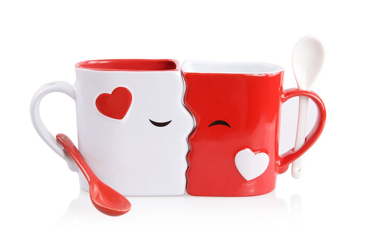 Red White Mugs Kissing Set
