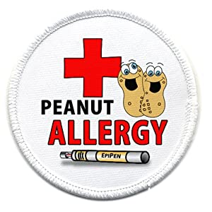PEANUT ALLERGY Medical Alert 2.5 inch White Rim Sew-on Patch from Creative Clam