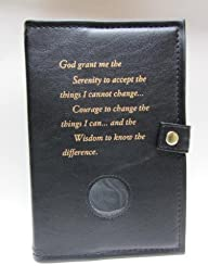 Deluxe Double Alcoholics Anonymous AA Big Book & 12 Steps & 12 Traditions Book Cover Medallion Holder Black