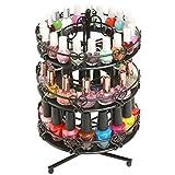 3 Tier Salon Style Black Metal Spinning Carousel Nail Polish Display Rack / Cosmetic Organizer Stand