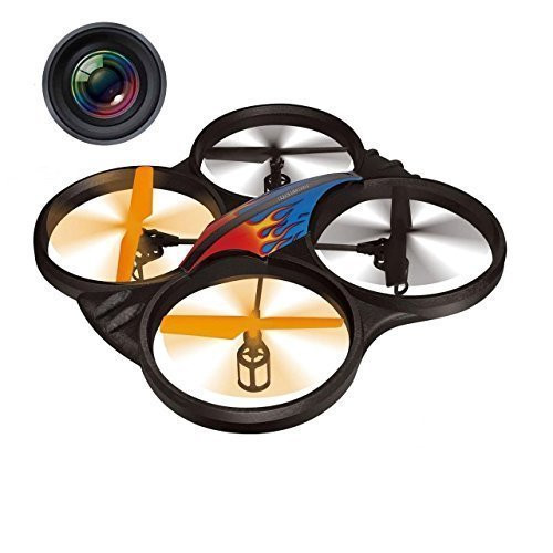 """Haktoys HAK907C 17"""" Diagonal 2.4GHz 4CH RC Quadcopter, 6 Axis Gyroscope, Loop Function, Rechargeable, Ready To Fly, and LED Light (Camera Included)"""