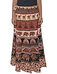 Gurukripa Shopee Women's Cotton Wrap-around Skirt (Multicolor) - B01I1DB0EW