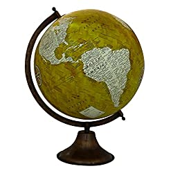 EnticeSelections Antique Handicrafted Big Desktop Rotating Globe Earth Geography World Globes Ocean Table Décor 12 Inch