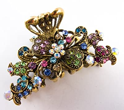 New Style Multi-color Crystal Bronze Metal Alloy Flower Hair Claws Clips Pins #86