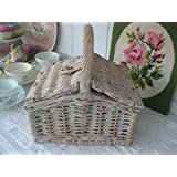 Small grey-white washed willow wicker lidded child's PICNIC hamper /sewing BASKET