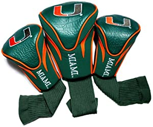 Buy NCAA Miami Hurricanes 3 Pack Contour Golf Club Headcover by Team Golf