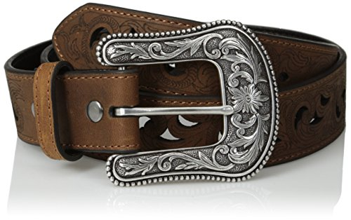 Ariat Women's Paisley Design Cutout Leather Belt Brown Medium