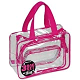 JODA Pink Trim Clear PVC 3 Bag Travel Set