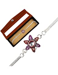 JEWEL FUEL Silver Bracelet Rakhi With Velvet Gift Box