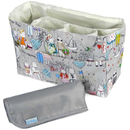 KF Baby Diaper Bag Insert Organizer (12 x 4.8 x 8 inch, Gray) + Diaper Changing Pad Value Combo