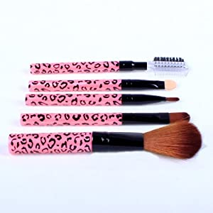 Ostart 5 Pcs Cosmetic Makeup Tool Brush Kit Travel Set - Pink
