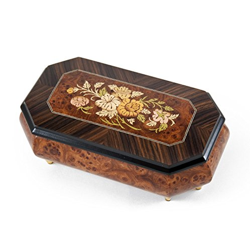 Traditional Style 36 Cut Corner Music Box with Floral Wood Inlay with 36 Note Tune-Rhapsody in Blue - 1 Available