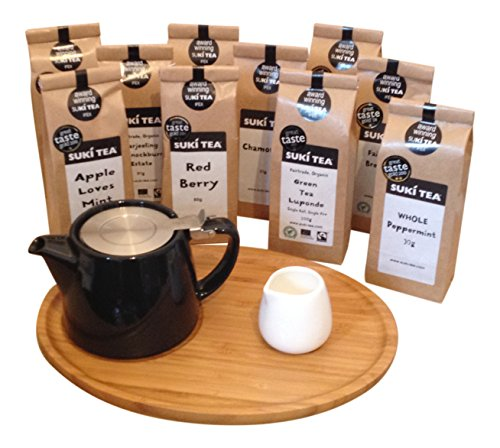 black-forlife-18oz-stump-loose-leaf-teapot-with-bamboo-tray-creamer-suki-tea-100g-breakfast-tea