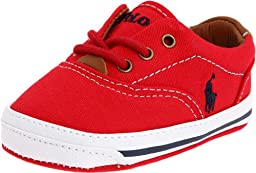 Ralph Lauren Layette Vaughn Crib Shoe (Infant/Toddler),Red Canvas,4 M US Toddler